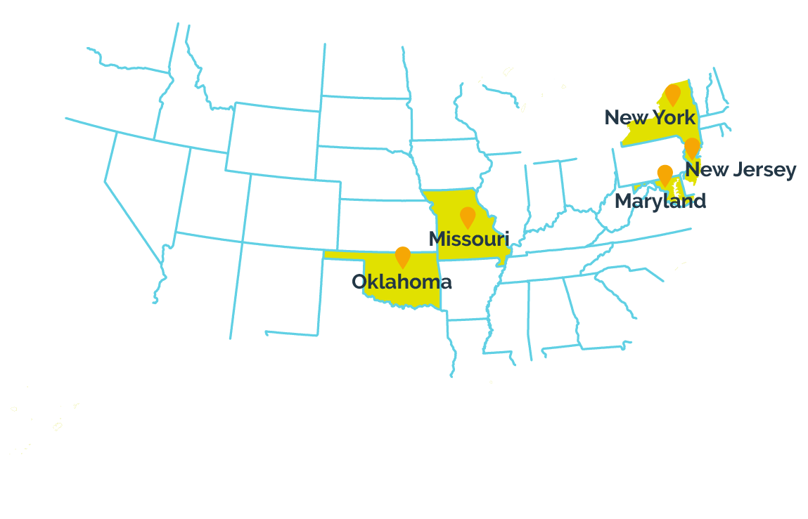 Maryland, Missouri, New Jersey, New York, and Oklahoma participate in the I-SMART project.